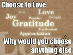 Choose to Love Why would you choose anything else