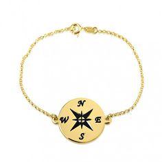 24k Gold Plated Compass Bracelet
