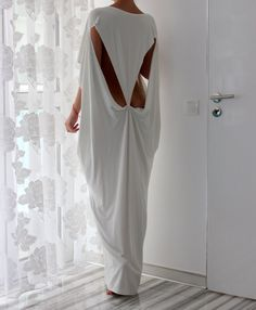 Open Back White Maxi Oversized Long Elastic Cotton Tricot Elegant Party Dress / spring summer dress caftan