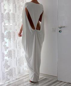sooo sexy  Open Back White Maxi Oversized Long Elastic by cherryblossomsdress, $79.00