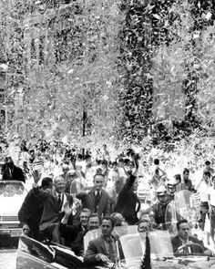 "NYC. ""Neil Armstrong, the first man to walk on the moon, Buzz Aldrin and Michael Collins receive a ticker-tape parade in New York City in August 1969."""