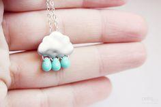 rainy days tiny cloud and raindrops necklace
