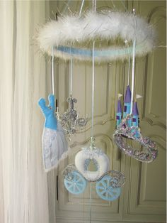Nursery Mobile Princess white with blue tones by lilliputloft, $138.00