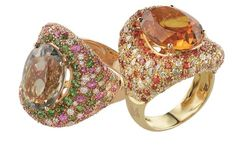 Left: Prasiolite ring with diamonds, pink sapphires, and tsavorites. Right: Madera citrine with white and brown diamonds and orange sapphires. Both pieces by Moraglione.