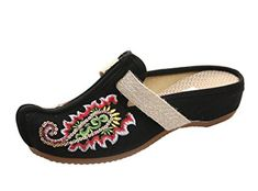 AvaCostume Womens Embroidery Sequin Point Toe Slip-on Shoes Review