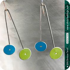 Long Dot Upcycled Blue Green Tin Earrings Tin Anniversary Birthday Gift Minimal Retro Circles Contemporary Art Jewelry Modern Recycled Drops by christineterrell for adaptive reuse on Etsy