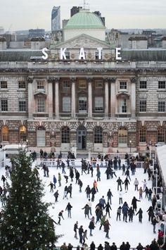 Somerset House is a large Neoclassical building situated on the south side of the Strand in central London, England, overlooking the River Thames, just east of Waterloo Bridge.