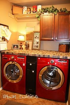 Counter top over washer & dryer…no more unfolded piles around the house! @ Home Design Pins