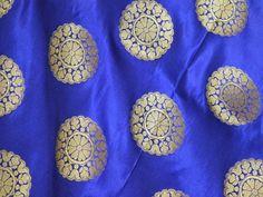 Royal Blue Brocade Fabric by the Yard Banarasi sewing Fabric for lehenga Indian Wedding Dress fabric costume fabric bridal dress material