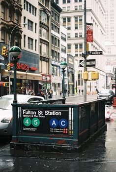 Subway entrance on Fulton Street & Maiden Lane in the NYC Financial District.