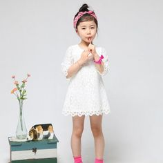Free shipping! 2013 New Fashion Korean Children Clothes Beautiful Girls Lace White Dress Middle-Sleeve Slim Baby One-Piece Dress $11.90