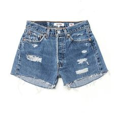 RE/DONE Denim Shorts - Destructed (815 BRL) ❤ liked on Polyvore featuring shorts, distressed shorts, vintage jean shorts, distressed denim shorts, cut-off jean shorts and cut off denim shorts