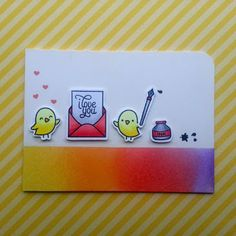"""A love card that I made with the """"Love Letters"""" stamp set from """"Lawn Fawn""""."""