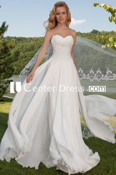 $142.29-Beautiful Sleeveless Criss-Cross Sweetheart Chiffon Strapless Wedding Dress With Draping. http://www.ucenterdress.com/sleeveless-criss-cross-sweetheart-chiffon-wedding-dress-with-draping-pMK_700167.html.  Shop for Best wedding dresses, Lace wedding dress, modest wedding dress, strapless wedding dress, backless wedding dress, wedding dress with sleeves, mermaid wedding dress, plus size wedding dress, We have great 2016 fall Wedding Dresses on sale. Buy Wedding Dresses online at…
