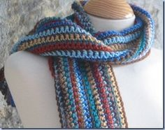 Man's Easy Striped Scarf looks simple, yet bohemian. This free crochet pattern makes one easy, handsome scarf!