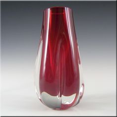 Whitefriars/Baxter Ruby Red Glass Elephant Foot Vase 9727 - £24.99