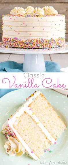 This Classic Vanilla Cake pairs fluffy vanilla cake layers with a silky vanilla . This Classic Vanilla Cake pairs fluffy vanilla cake layers with a silky vanilla buttercream. The perfect cake for bi Cupcake Recipes, Baking Recipes, Cupcake Cakes, Dessert Recipes, Layer Cake Recipes, Basic Layer Cake Recipe, Recipe For Cakes, 3 Egg Cake Recipe, Perfect Cake Recipe