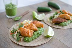 Fish tacos with Aji Guacamole
