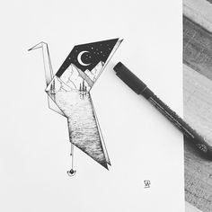 Origami bird for Lexy! #illustration #illustrator #design #sketch #draw #drawing…