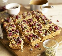Cranberry, pumpkin seed & caramel flapjacks Salted butter balances the sweetness of the caramel and dried fruit in this indulgent traybake made from rolled oats Bbc Good Food Recipes, Baking Recipes, Sweet Recipes, Cake Recipes, Dessert Recipes, Food Tips, Food Food, Yummy Recipes, Quiche