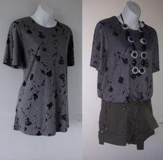 VTG 1990s CLASSIC Oversized Grey Flower T-Shirt Top Festival Grunge Womens 12 14    00.99