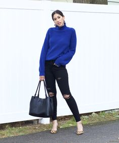 I'm talking about a group of colors that look great on every skin tone in this blog post. Can you guess? Stop by to find out what they are and to shop similar sweaters. This color looks amazing on all skin tones! Blue Sweater Outfit, Sweater Outfits, Only Fashion, Fashion Beauty, Flattering Outfits, Autumn Winter Fashion, Winter Style, Florida Style, All Black Outfit