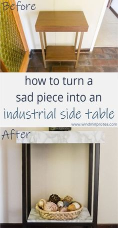 How to turn a sad piece into an industrial side table | Windmill & Protea