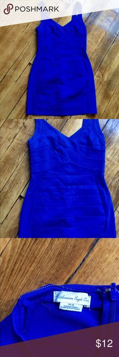 American eagle cobalt blue body con dress I cut the bottom myself to make it shorter, not noticeable unless you focus on it! Cobalt blue body con, zips in the back, medium American Eagle Outfitters Dresses Mini