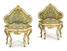 A PAIR OF ITALIAN ROCOCO WHITE-PAINTED AND PARCEL GILT BENCHES MID-18TH CENTURY Estimate 4,000 — 6,000 USD LOT SOLD. 9,375 USD (Hammer Price with Buyer's Premium)