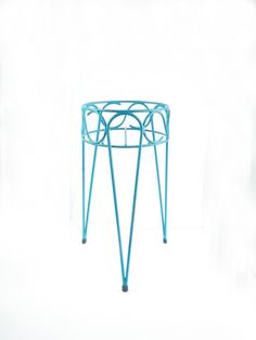 Mid Century Blue Tall Hairpin Plant Stand by cheerfulowl on Etsy