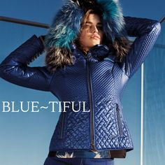 Sportalm's beautiful Boa ski jacket in bright blue quilted fabric with a fur hood. At Winternational.