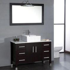 "Ziemlich Bathroom Vanities ziemlich valega-left 42"" vanity features a tobacco finish, square"