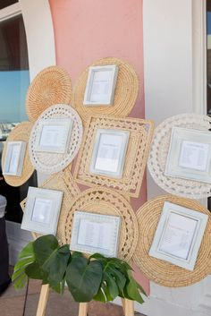 Tropical Boho Beach Wedding Seating Chart with Woven Rattan Placemats and Framed Table Card Seating Assignment Seating Chart Wedding, Seating Charts, Creative Wedding Inspiration, Boho Beach Wedding, St Pete Beach, Old Florida, Table Cards, Table Plans, Rattan