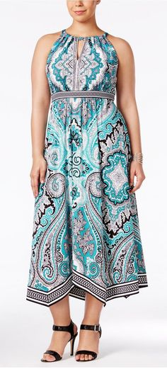 Plus Size Printed Halter Dress