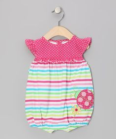 Take a look at this Lime Stripe Ladybug Bubble Romper by Baby Togs on #zulily today!