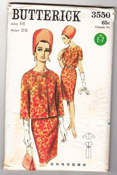 Vintage 1965 Butterick 3550 Sewing Pattern Misses' Dress and Jacket Size 16 Bust 36 Vintage Vogue Patterns, Vogue Sewing Patterns, Clothing Patterns, Dress Patterns, Paper Dolls Clothing, Vintage Fashion 1950s, Sixties Fashion, Collarless Jacket, One Piece Dress