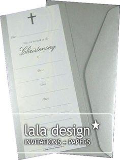 Cream flourish christening invitation