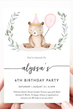 Download, Edit, and Print this adorable Teddy Bear Birthday Invitation, Perfect for a Girl Birthday Theme!