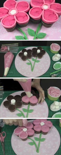 Flower Pull-apart Cupcake Cake | DIY Mothers Day Cupcakes Ideas for Kids to Make | Easy Valentines Treats for Friends