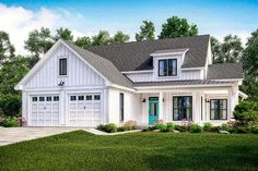 <div><ul><li>This attractive modern farmhouse was designed with a flexible second floor. The home gives you 3 or 4 large bedrooms, 2.5 bathrooms, 10' ceilings throughout the first floor, lots of storage and large open living concept with wraparound front porch. </li><li>Coming in from the front porch you will be greeted by a large open living space with views into the kitchen, dining room and rear porch.</li><li>The k...