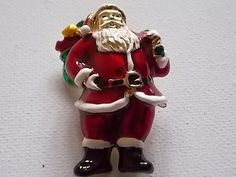 father christmas brooch red enamel