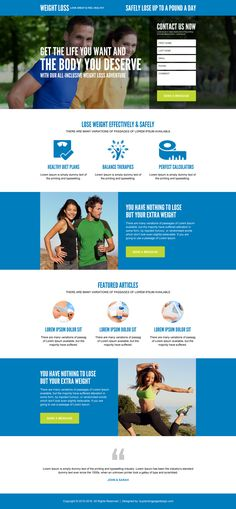 lose weight effectively and safely converting landing page design