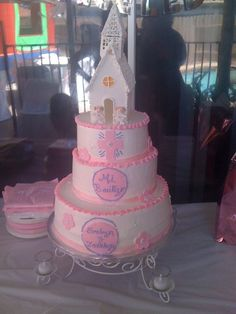 Girls First Communion Cake with Church made of Royal Icing and Fondant