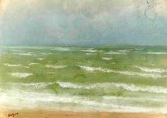 Rising Tide , by Edgar Degas - Cd Paintings Edgar Degas, Degas Drawings, Degas Paintings, Vintage Beach Photos, Fairfield Porter, Ballet Painting, American Impressionism, Watercolor Landscape, Watercolour
