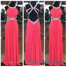 #promdress01 prom dress - 2-15 cute coral chiffon white sequins backless long senior prom dress for teens, ball gown, graduation dress #coniefox #2016prom