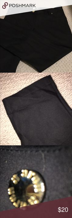 ARON black pants . With a shine and embossed bottoms this pants can be worn at a night out or in the day time . New never worn . So special the pictures couldn't show the elegance of this pants . With two fake pocket but gold embossed bottoms in front and belt buckle  and two fake buttons in the back . You will love this pants . aron Pants Skinny