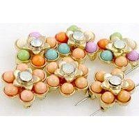 6 floral 2 hole slider beads 11268