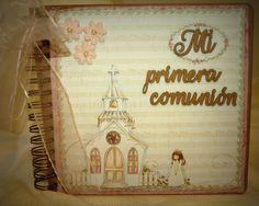 Portada álbum Mi primera comunión, niña #scrapbooking#miprimeracomunión#DIY#tximeletak