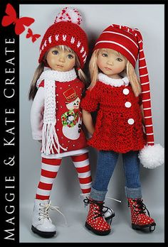 Vibrant red and white winter clothes make these dolls perfect to incorporate into your Christmas decor