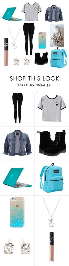 """""""Erin on the plane"""" by erin091203 on Polyvore featuring Current/Elliott, Chicnova Fashion, maurices, Dr. Martens, Speck, JanSport, Casetify, Nephora, Tiffany & Co. and NARS Cosmetics"""